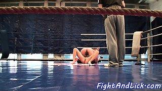 Roundass wrestling lezzie gets groped