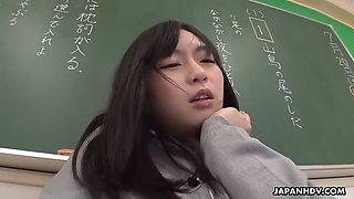 intern teacher nozomi hazuki toys herself in front of students