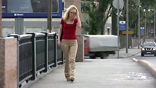 Public pissing video with depraved blonde hussy Lena