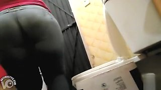 Cleaning woman pisses and wipes her vagina