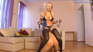 Guy with a mask will do anything to satisfy his blonde mistress