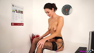 Sexy secretary with small saggy tits Laura shows striptease in the office