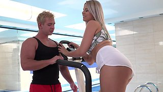 Harsh interracial sex by the pool along a top blonde