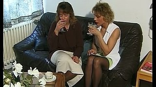 Playful all natural vintage milfs on the couch in lesbian action