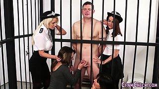 Kinky policewomen tugging
