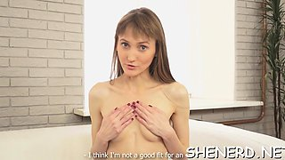 Decent babe in glasses goes nasty when she sees pecker