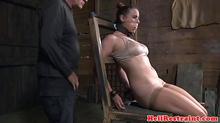 restrained cocksucker squirts while toyed