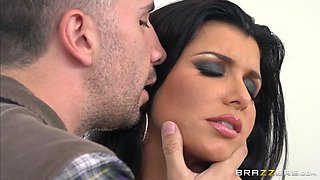 busty housewife romi rain is trying to seduce him