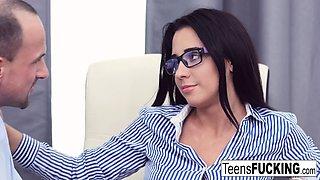 Busty teen Kseniya has anal sex at the office